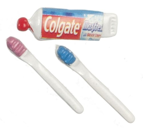 Dollhouse Miniature 1:12 Toothpaste & Two Toothbrushes (8 Year Old Toothbrush)