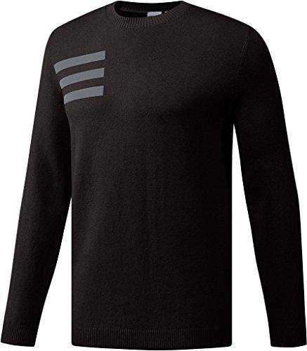 adidas Golf Men's 3-Stripe Crewneck Sweater, Black Melange, (Crew Golf Sweater)