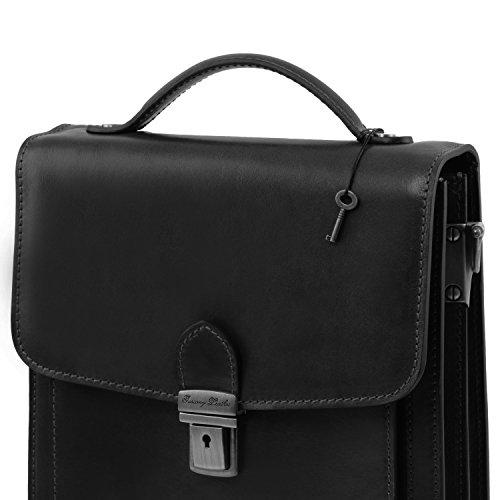 Tuscany Leather - David - Sac Bandoulière en cuir pour homme - Grand modèle - Marron foncé