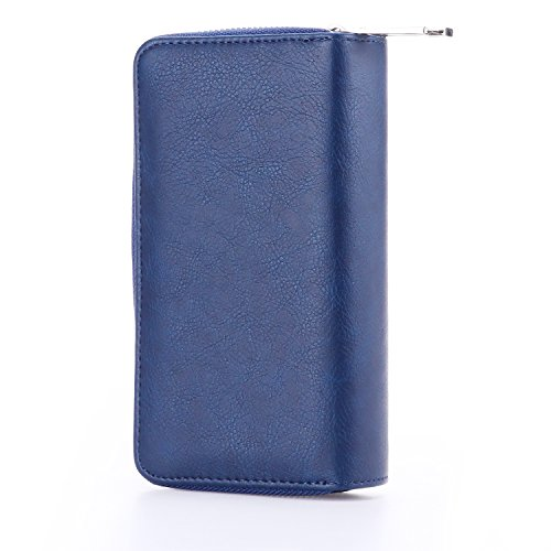 Womens Zipper Around Long Clutch Wallet Credit Card Holder Purse with Coin Pocket for Cash, Coin and 5.5 inch Cellphone