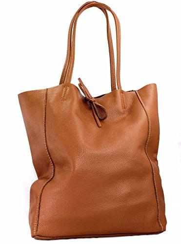 Ital Echt Leder Ledertasche Damentasche Handtasche Shopper Schultertasche (silber) cognac