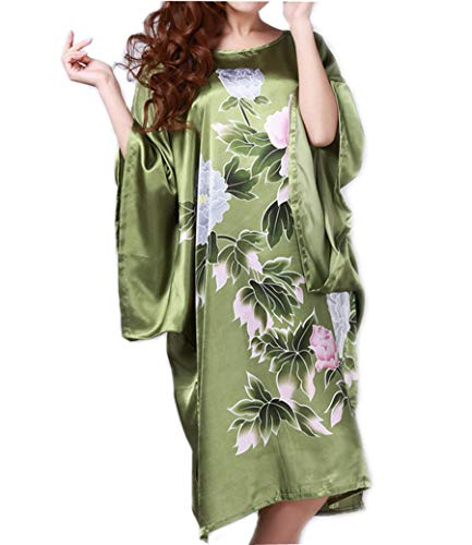 pamor Womens Chinese Floral Butterfly Peacock Opera Patterns Print Loose Housedress Nightgown Nightie (Opera red 9)