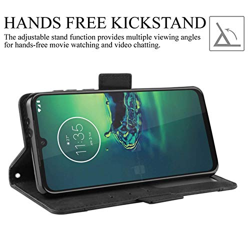 HualuBro Motorola One Vision Plus Case, Magnetic Full Body Protection Shockproof Flip Leather Wallet Case Cover with Card Slot Holder for Motorola Moto One Vision Plus Phone Case (Black)