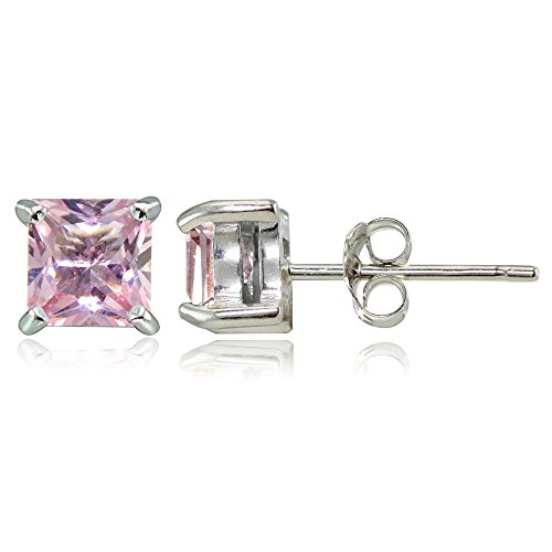 Sterling Silver Simulated Pink Tourmaline 5mm Princess-cut Stud Earrings
