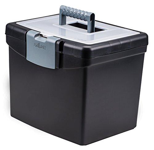 Caja de archivos portátil Storex, 10.88 x 13.25 x 11 pulgadas, negro (STX61504U01C)