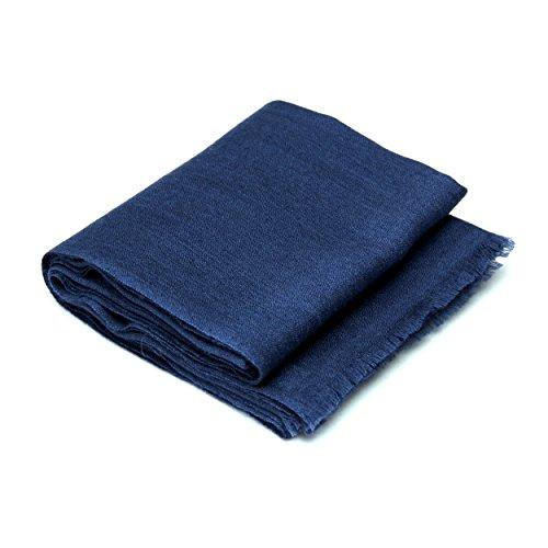100% Cashmere Hand-Woven Stole Lightweight, (60/2 Mongolian Yarn Composition), Navy-Blue © Moksha Cashmere by Moksha Cashmere