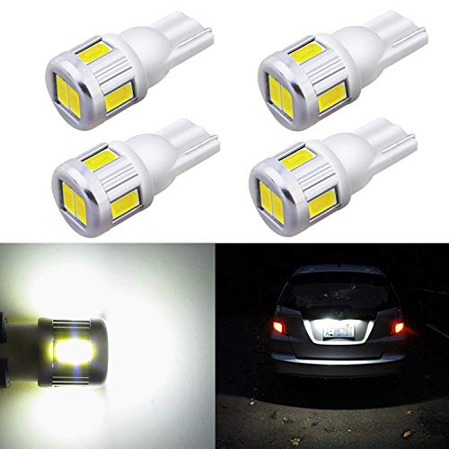 Alla Lighting 4x T10 168 194 LED White Bulbs Super Bright Samsung 5630 SMD T10 Wedge 175 2825 W5W 194 168 LED Bulbs for Interior Map Dome Trunk Exterior License Plate Marker Lights, 6000K Xenon White - Nissan Maxima Parking Light
