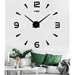 SIEMOO Large DIY Wall Clock Kit, 3D Frameless Wall Clock with Mirror Number Stickers for Home Living Room Bedroom Office Decoration-Black