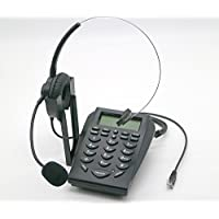 E05 LCD Office Telephone With Corded Headset Call Center Phone Tone Dial Key Pad