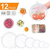 Silicone Stretch Lids, 12 Pack to Keeping Food Fresh, Reusable, Durable and Expandable to Fit Various Sizes for Bowl Covers, Cups, Canned, Pots and Pans in Dishwasher, Microwave and Freezer