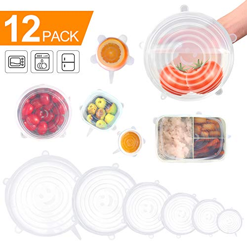 - Silicone Stretch Lids, 12 Pack to Keeping Food Fresh, Reusable, Durable and Expandable to Fit Various Sizes for Bowl Covers, Cups, Canned, Pots and Pans in Dishwasher, Microwave and Freezer