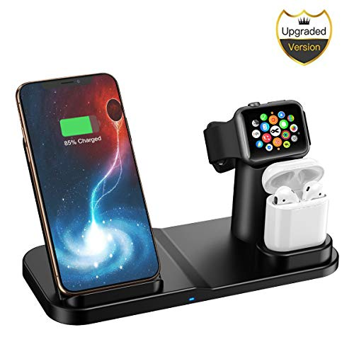 Wireless Charger, 3 in 1 10W Qi-Certified Fast Wireless Charger Stand Compatible iPhone XR/XS Max/XS/X / 8/8 Plus/Apple Watch/Airpods ()