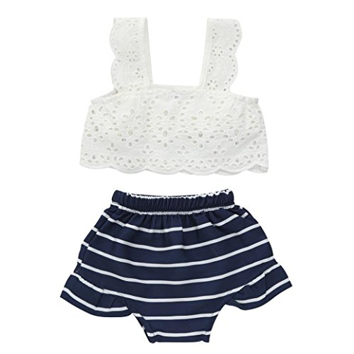 Goodlock Toddler Infant Fashion Clothes Set Baby Girls Lace Striped Clothes Tops+Shorts Set Outfits 2pcs (Size:12M) - Fancy Striped Pocket Dress Shirt