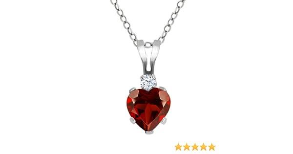 """0.92 Ct Heart Shape Red Garnet /& White Diamond 925 Sterling Silver Pendant 18/"""""""
