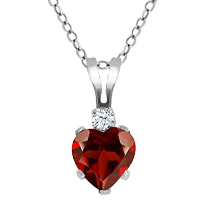 Gem Stone King 0.58 Ct Heart Shape Red Garnet White Topaz 925 Sterling Silver Pendant