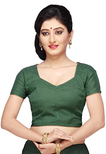 Utsav Fashion Shimmer Georgette Blouse in Dark Green
