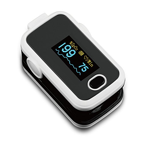 AMEMO ® Fingertip Pulse Oximeter - FDA Approved Blood Oxygen and Heart Rate Monitor, with Alarm and Beep, With Batteries, Lanyard, Silicone Cover and Carrying Case (White)