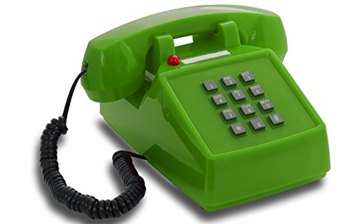 OPIS PushMeFon cable: 1970s inspired fixed-line push-button telephone with classic metal bell ringer (green) -
