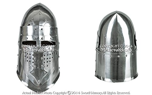 Functional 16G Steel Medieval Knight Pig Face Bascinet Helmet WMA SCA LARP Armor by Medieval Gears (Image #2)