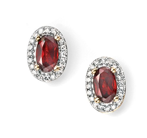 Boucles d'oreilles clous or jaune 9carats Diamant et Grenat Grappe