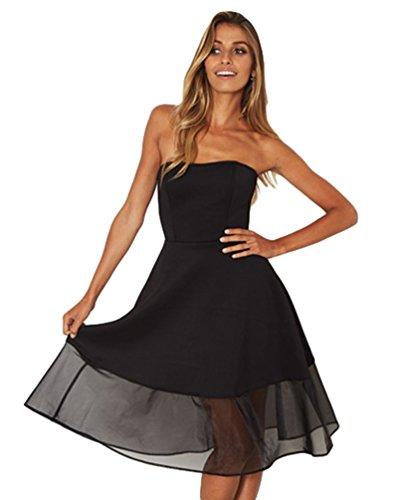 Spalline Estivo Vestito Nero Sentao Sera Da Cocktail Elegante Donna Cerimonia Senza Abito 6AU6Zqg7wW