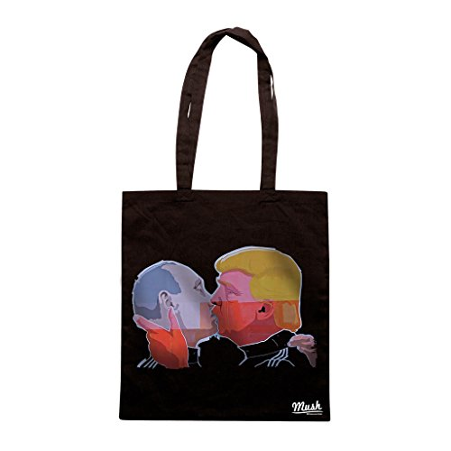 Borsa BACIO MURO DI BERLINO PUTIN-TRUMP - Nera - POLITICA by Mush Dress Your Style