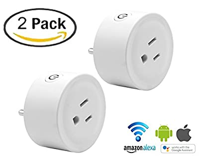 Wifi smart plug 2pack mini smart home power control socket-Wireless Wifi Outlet Electrical Socket Compatible with Alexa/Google Home Remote Control