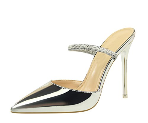 Miyoopark Para Sintético Miyooparkuk Plata Vestir Mujer De ds86 5 Zapatos OOwrq0U