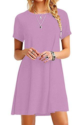 YMING mujeres sueltas vestido de manga corta casual túnica camisa larga vestido mini Light Purple