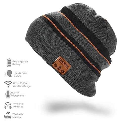 Bluetooth Beanie Hat Cap with Wireless Bluetooth Headphone Headset Earphone Music Audio Hands-free Phone Call for Winter Sports Fitness Gym Exercise Workout, by DeeFec - BlackGray