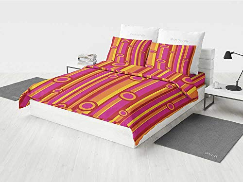- Retro White Crib Bedding Set Vibrant Colors Striped Pattern with Circles Vintage Geometric Illustration Print Printing Four Pieces of Bedding Set Pink Red Orange