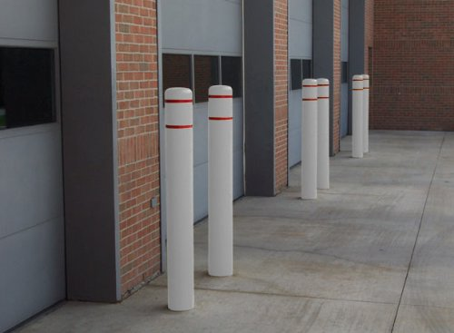 Bollard Covers - Rotationally Molded - Bsq Series; Shape: Round; Sleeve Color: White; Tape Color: Red; Height: Up to 60