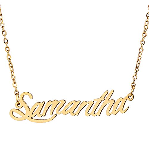 AOLO Gold Plated Script Gold Name Plate Necklace Samantha ()