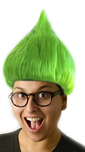 Green Troll Wig Troll Doll Hair Costume Wig for Adults and (Troll Doll Costume)