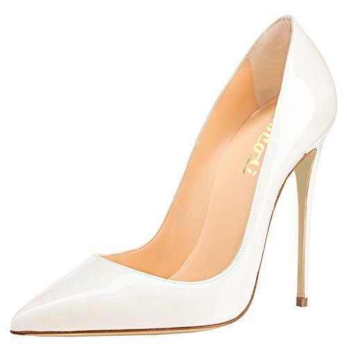 VOCOSI Women's High Heels,Pointed Toe Patent Pumps Shoes For Ladies Party Dress 4.7 inches P-White 7 (Patent Pumps)