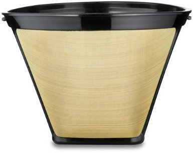 2 X #4 Cone Shape Permanent Coffee Filter (Gold/Black, 1) (Permanent Cone)