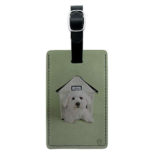 Bichon Frise Maltese Puppy Dog in House Rectangle Leather Luggage Card ID Tag (Tag Leather Frise Luggage Bichon)