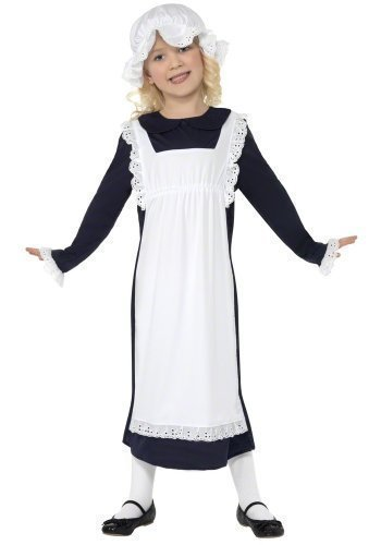 Victorian Peasant Girl Costume (Fancy Me Big Girls' Victorian Maid Poor Peasant Servant Historical 10-12 Years Black)