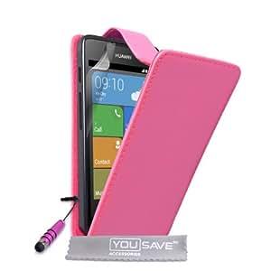 Yousave Accessories con tapa de piel sintética Mini lápiz capacitivo para Huawei Ascend Y530 - rosa