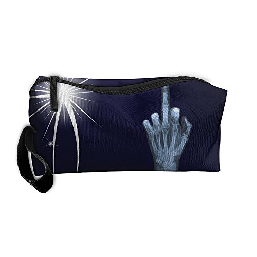 X Ray Middle Finger Beauty Women Cosmetic Bags Portable Travel Toiletry Pouch Makeup Organizer With Zipper