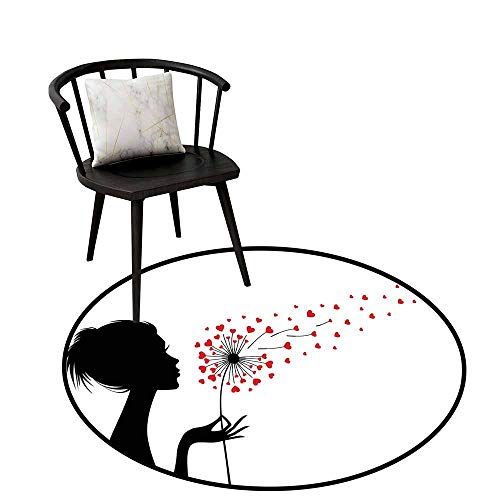 Non-Slip Mats Circular Carpet Mats Dandelion,Woman Silhouette with Dandelion Heart Seeds Flying Valentines Day,Vermilion Black White,Shoe Scraper Door Mat Living Room Rug 32