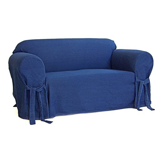 Slipcover Blue Denim (Authentic Denim One-piece Loveseat Slipcover)
