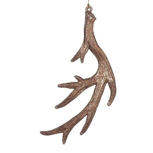 Cabin Fever Brown Glitter Antler 6 inch Christmas Ornament Decoration