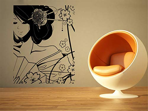 (Poinly Wall Stickers Art DIY Removable Mural Room Decor Mural Vinyl Costume Beautiful Geisha Girl and Flower Cartoon Home Living Room Decor)