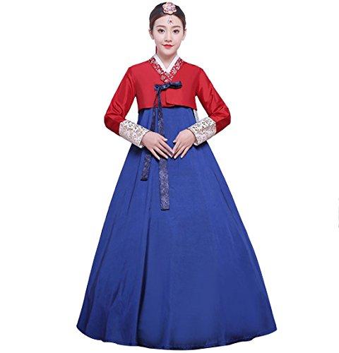 The Korean Traditional Costume (Women's Korean Traditional Costume Ladies Long Sleeve Classic Hanbok Set)
