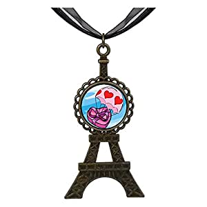 Chicforest Bronze Retro Style Flying Hearts Of Chocolate Eiffel Pendant