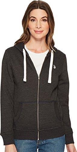 U.S. Polo Assn. Women's Zip-Up Fleece Hoodie Black Heather Medium