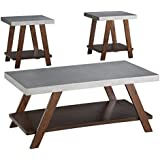 Ashley Furniture Signature Design - Bellenteen Casual 3-Piece Table Set - Includes Cocktail Table & Two End Tables - Brown/Silver