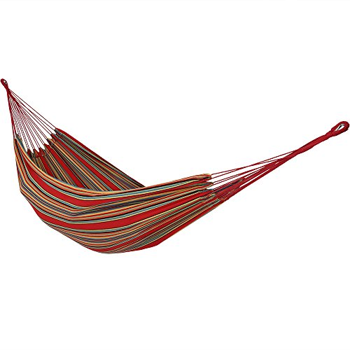Sunnydaze Brazilian Double Hammock with Carrying Pouch, 2 Person Portable Bed – for Indoor or Outdoor Patio, Yard, and Porch Sunset