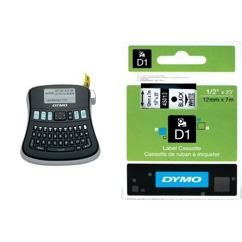 DYMO LabelManager 210D Desktop Label Maker (1738345) + 2 bonus rolls of 1/2 White Tape